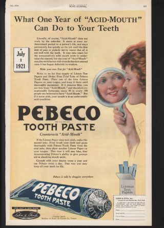 1920 Pebeco Tooth Paste Dentist New York Clean Acid Mouth Druggist Teeth Art Ad photo