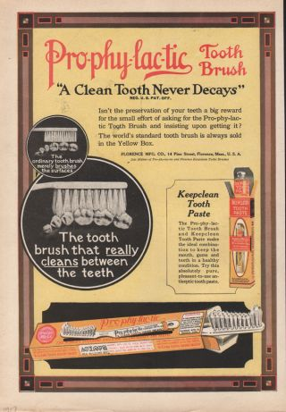 1917 Prophylactic Tooth Brush Paste Bristle Dental Dentist Florence Decay Health photo