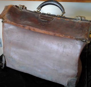 Antique Doctors Leather Bag / Case Medical Satchel ~ Brown 1800s Useable photo