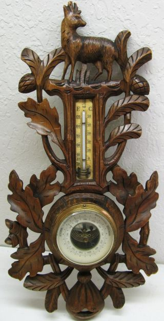 Stunning Antique German Black Forrest All Hand Carved Wood Barometer Thermometer photo