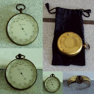 Vintage English Compensated Pocket Barometer Altimeter + Pouch photo
