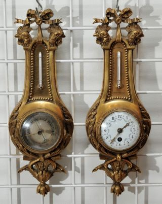 Miniature Dore Bronze Aneroid Barometer - Thermometer & Cartel Clock Antique 1880 photo