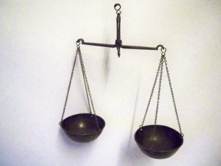 Early 1800s Iron & Copper Apothecary Or Tea Scales. photo