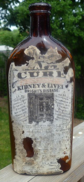 3 City Warner ' S Safe Cure Toronto London Rochester Pint Partial Label Bottle photo