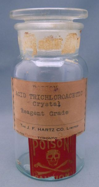 Rare J.  F.  Hartz Co.  Halifax Toronto Montreal Canada T.  C.  W.  Co Usa Poison Bottle photo