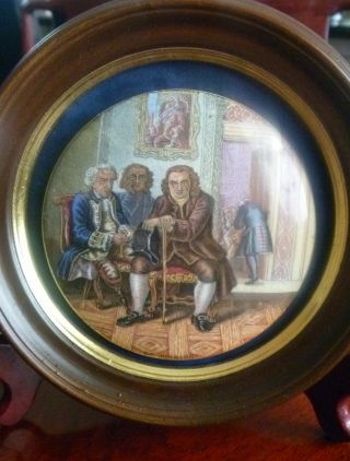 Antique Victorian Dr.  Johnson Prattware Pot Lid Framed In Rosewood Stand photo