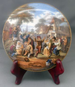 The Village Wedding Pot Lid F & R Pratt & Co.  Artist Teniers Pinx 1857 - 1900 photo
