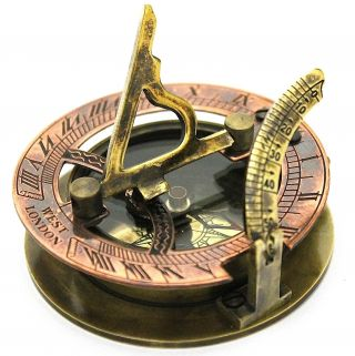 Antique Brass Sundial Compass - Pocket Sundial - West London photo