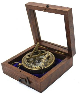 Brass Sundial Compass – Antique Sundial Compass With Box photo
