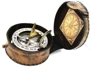 Brass Sundial Compass With Leather Box photo