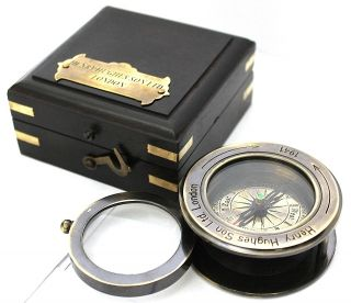 Collectable Brass Compass With Leather Case photo