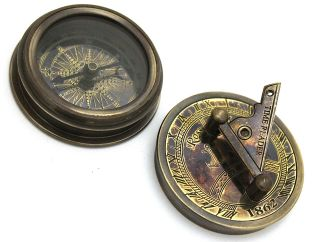 Brass Compass & Sundial - London Pocket Sundial Compass photo