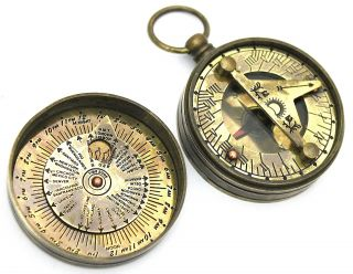 Brass Sundial Compass - Pocket Sundial Compass photo