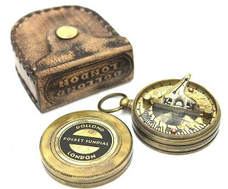 Dolland London Brass Sundial Compass & Leather Case photo