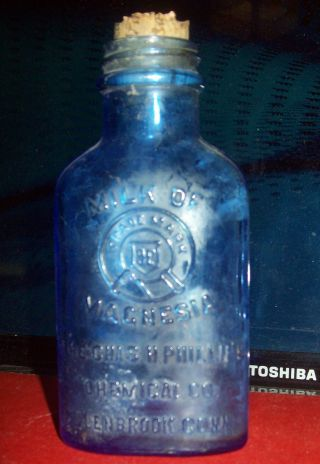 Antique Phillips Milk Of Magnesia Glass Bottle photo