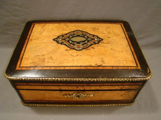 19thc Antique French Victorian Marquetry & Brass Inlay Wood Dresser Jewelry Box photo
