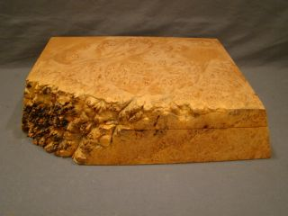 Vintage Birds Eye Maple Natural Burl Wood Folk Art Michael Elkan Jewelry Box photo