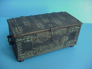 Antique Arts & Crafts Perioid Bronze Box By Iron Art Denmark photo