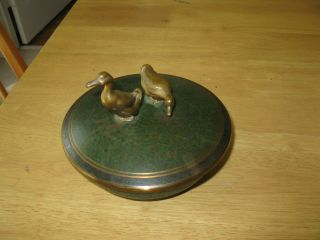 Rare Antique Carl Sorenson Arts & Crafts Bronze Bowl With Ducks On Lid - Green photo