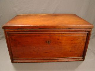 Large Antique 19thc Victorian Campaign Chest Old Wood Primitive Lock Box Trunk photo