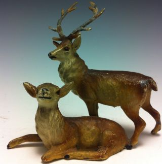 Vienna White Metal Cold Painted Stag And Doe photo