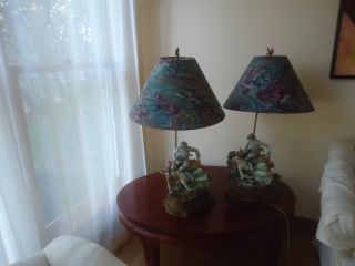 Pair Of Exquisite Antique Porcelain Figurine Lamps photo