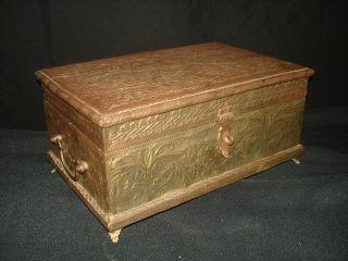 Vintage Antique Embossed Brass Dresser Keapsake Trinket Box Scroll Floral photo