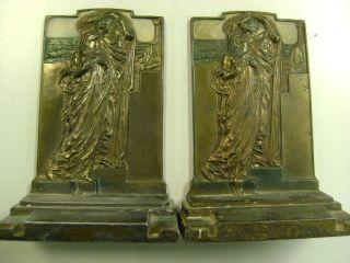 Vintage Antique 1925 Pompeian Bronze Co As Adoration Pr Bookends photo