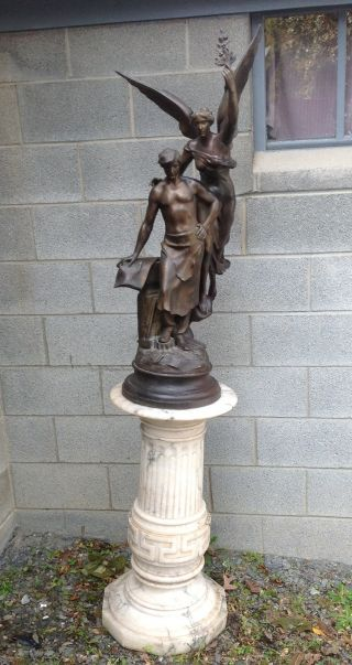 Antique Spelter Winged Statue With Marble Pedestal photo