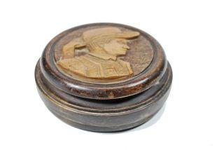 Vintage Carved Round Snuff Box,  Austrian. photo
