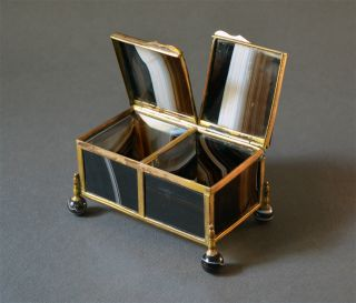 19th Century Black White Agate Box 17th Century Chest Gilt Brass photo