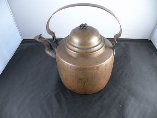 Antique American Copper Tea Kettle,  Great Patina,  Old,  Hand Made,  7.  25