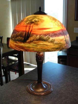 Reverse Painted Jefferson Era Lamp Antique,  Vintage, photo
