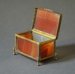 Splendid 19th Century Brown Agate Box 17th Century Chest Gilt Brass photo