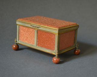Gorgeous 19th Century Glittering Brown Porphyry Box 17th C.  Chest Gilt Brass photo