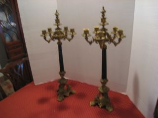 Rare Pair Of Antique French Empire Bronze 6 Candle Candelabra photo