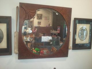 Period Victorian Carved Walnut Lollipop Mirror photo