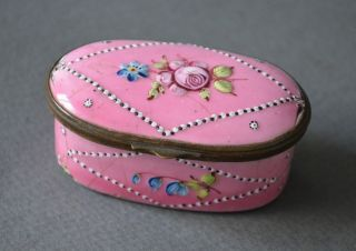 Elegant 18th Century French Box Pink Enamel On Metal Flowers photo