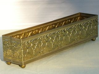 Incredible Vintage Ornate Solid Brass Footed Window Box Planter 18