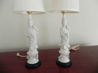 Guanyin Kwan Kuan Yin Pair Matching Porcelain Lamps 18