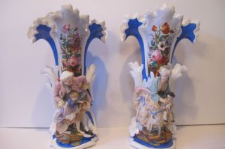 Old Paris Pair Antique Very Large Vases,  Decorated With Bisque Figures,  Flowers. photo