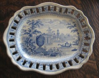 Early Worcester Blue And White Transferware Platter photo