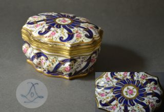 Large Sevres? French 19th Century Gilt Polychrome Porcelain Box Brass Flowers photo