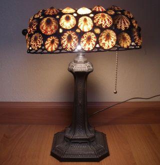 Vintage Seashell L&l Wmc Cast Iron Table Lamp Art Deco Era Antique photo