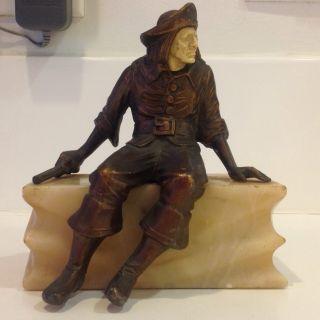 Antique Bronze/marble Pirate Sculpture/statue photo