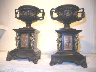 Fine Pair Bronze Warwick Albani Vases Mythology Urns C1870 Nor photo
