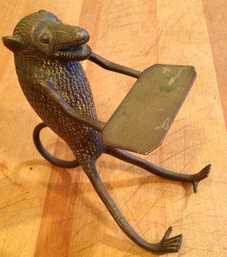 Vintage Vienna Bronze Monkey Business Card Holder photo