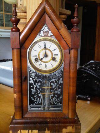 Antique Ansonia Gothic Cathedral Clock 1880 photo