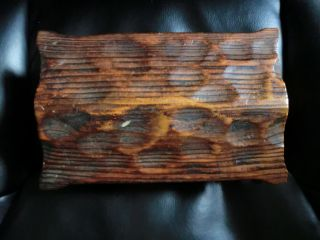 Rustic Carved Hinged Wood Box W/lid photo