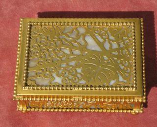 Tiffany Studios Utility Box,  Gold Grapevine Pattern,  Arts And Crafts Period photo